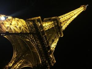 Eiffel Tower at night up close